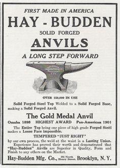 RARE 1913 HAY BUDDEN HAY -BUDDEN BLACKSMITH ANVIL AD BROOKLYN NY NEW YORK