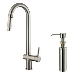View the Vigo VG02008K2 Pullout Spray High Arc Kitchen Faucet with Soap Dispenser at FaucetDirect.com.