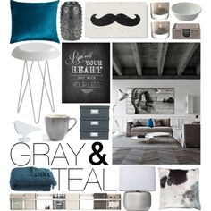 Gray & Teal, created by emmy on Polyvore