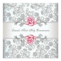 Damask Pink Rose Girls First Communion Invitation http://www.zazzle.com/damask_pink_rose_girls_first_communion_invitation-161181525396433646?rf=238282136580680600*