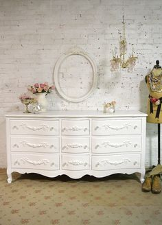 Painted Cottage Chic Shabby French Dresser by paintedcottages $595. + $298 s/h