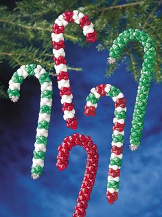 Beadery Holiday Ornament Kit Candy Cane Makes 16 Ornaments Kids Christmas Ornaments, Diy Christmas Gifts, Christmas Projects, Handmade Christmas, Christmas Decorations, Lego Ornaments, Grinch Decorations, Gingerbread Decorations, Santa Gifts