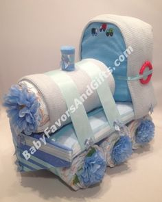 Choo Choo Train Diaper Cake - Baby Boy Diaper Cakes for Baby Shower
