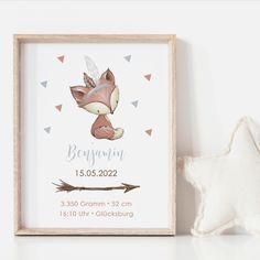 Personalisiertes Geschenk zur Geburt Babyposter Geburtsposter Baby Posters, Baby 1st Birthday, Baby Decor, Frame, Illustration, Design, Creativity, Home, Ideas