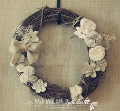 "Rustic Wreath - Gorgeous 18"" Wedding Wreath / Rustic Wedding / Vintage Wedding / Country Wedding / or Home - Fabric Flower and Pearl Detail. $55.00, via Etsy."