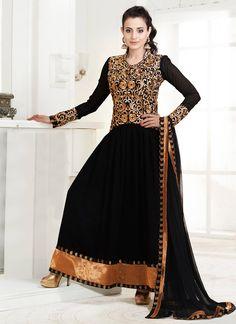 Fab Black Ameesha Patel ankle length anarkali suit