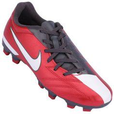188acdf1438ca Chuteira Campo Nike Total 90 Exacto 4 FG Masculino Vermelho Cinza Branco  Chuteiras