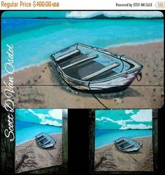 SALE LONELY ISLAND Skiff Art By Scott D Van Osdol Painted On