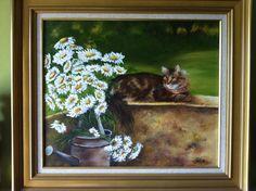 Défi = cette toile représente mon chat Saxo «« Collection personelle : Peintures par violetta-braga
