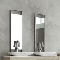 composizione bagno sospesa salchow con mobile doppio lavabo e ... - Arredo Bagno Doppio Lavabo Prezzi