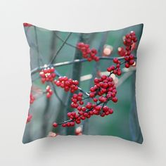 Fall Berries, Pillow Cover by BacktoBasicsPillows