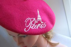 Vintage 80's Fushia Soft French Beret Cap with  by itsagoodthing, $27.99