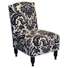 Damask Vanity Chair. solid black would be better or  striped