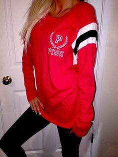 Victoria's Secret RED Long sleeve baseball Jersey style T shirt top M-L RARE Euc #VictoriasSecret #LongsleeveheavyknitstyleTshirttop