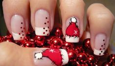 21 Fabulous and Easy Christmas Nail Designs - Christmas Nail Art - Nageldesign Cute Christmas Nails, Xmas Nails, Holiday Nails, Merry Christmas, Christmas Hat, Simple Christmas, French Christmas, Christmas Makeup, Christmas Manicure