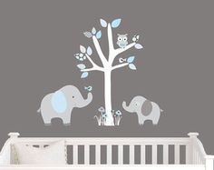 Mini Jungle Decals, Small Jungle Wall Decals, Nursery Wall Decal, Elephant,  Blue