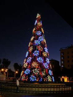 Christmas Tree in Marina Square, Málaga, Spain