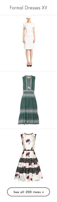 """Formal Dresses XV"" by kingdomofborduria ❤ liked on Polyvore featuring dresses, peplum dress, white peplum dress, white dresses, white day dress, dark green, floral day dress, green dress, boho floral dress and boho chic dresses"