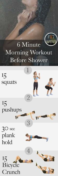6 minute morning workout routine to burn calories and incinerate fat. Short yet intense and targets your whole body! http://fitwirr.com/workout/plan/6-minute-mini-morning-workout-crush-calories-and-m/?crlt.pid=camp.EXvaW26WGI2D
