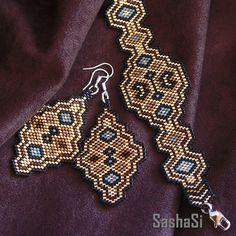 https://flic.kr/p/r6Dwja | Peyote Tapestry Set | Bracelet and earrings set. Beadwoven with Japanese Miyuki beads. www.sashe.sk/SashaSi/detail/peyote-tapestry www.sashe.sk/SashaSi/detail/peyote-tapestry-naramok