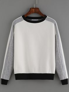 Shop Color-block Round Neck Sweatshirt online. SheIn offers Color-block Round Neck Sweatshirt & more to fit your fashionable needs.