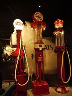 Vintage gas pumps at Los Angeles Car Museum, Oct 2011