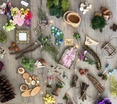 Fairy Garden Kit by Olive, Includes Carolina Longleaf Pinecone ~ Arranged in Decorative Gift Box ~ Great Gift to Direct Ship! Fairy Garden Furniture, Fairy Garden Supplies, Fairy Garden Houses, Fairy Gardening, Fairy Crafts, Garden Crafts, Garden Art, Rustic Watering Cans, Fairy Figurines