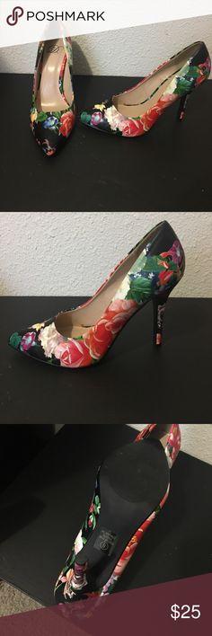 Floral print heels Skinny heel floral print dress shoes Shoes Heels