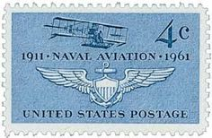 #1185 - 1961 4c Naval Aviation U. S. Postage Stamp Plate Block (4) . $0.75. U.S. #1185 commemorates the 50th anniversary of Naval Aviation. Issued the day of the Institute of Aerospace Sciences meeting, the stamp shows the first Navy airplane and the Naval air insignia.
