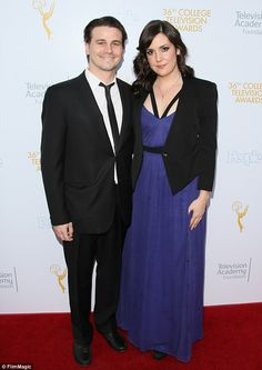 Coordinated: Actor Jason Ritter posed with actress Melanie Lynskey, both clad in structure...