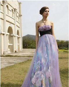 Lilac Lace Applique Net Chiffon Silk Like Satin Strapless Floor Length Evening Dress. Evening Dresses, Prom Dresses, Formal Dresses, Wedding Dresses, Halter Dresses, Bridesmaid Dresses, Beautiful Gowns, Beautiful Outfits, Gorgeous Dress