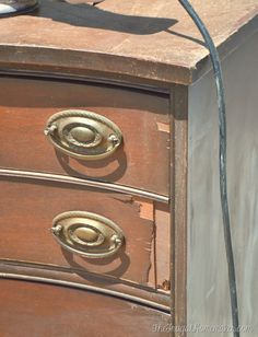 How to repair chipped and broken veneer and turn your furniture into a beautiful showpiece! via TheFrugalHomemaker.com
