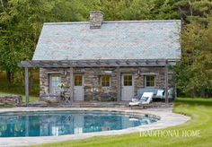 pool house was built to resemble an Irish stone cottage. At Home with Glassmaker Simon Pearce Outdoor Rooms, Outdoor Living, Outdoor Decor, Exterior Design, Interior And Exterior, Simon Pearce, Live Edge Wood, Garden Structures, Cool Pools
