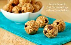 Peanut Butter & Dark Chocolate Chip No Bake Granola Bites from www.a-kitchen-addiction.com
