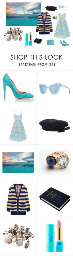 """the sea"" by gata-del-rey ❤ liked on Polyvore featuring Chanel, Gianvito Rossi, Prism, self-portrait, Ann Taylor, Gucci, Sloane Stationery and tarte"