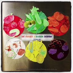 Lesson idea for encouraging healthy eating habits by using 'Eat yourself a rainbow everyday' approach.