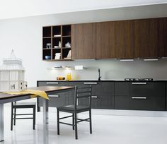 Modern kitchen cabinets from the Aran Cucine Terra collection. Modern Kitchen Cabinets, Modern Kitchen Design, European Kitchens, Mid Century Modern Kitchen, Cabinet Lighting, Cabinet Design, Contemporary Design, New Homes, Furniture
