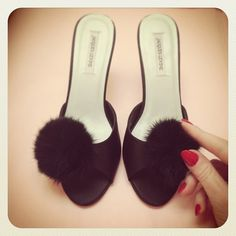 froufroufashionista:  I am dying from the cuteness! Our @Jacques Levine Pom Pom slippers just arrived! The faux fur is darling! (at Faire Frou Frou)