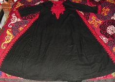 Superb Vintage Kashmir Embroidered Wrap Kaftan Dress by becocooned