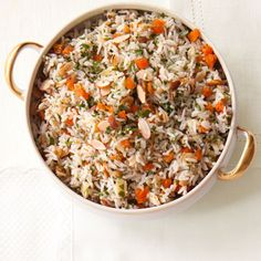 This rice pilaf combines crunchy almonds and sweet apricots for an easy dinner side with Mediterranean flair. #grain #fruit #myplate