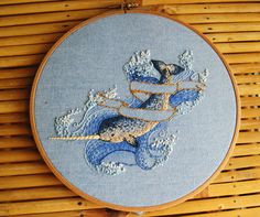 fuckyeahneedlework:    funwithfibers:    Beautiful Narwhale Embroidery from Feeling Stitchy's June Stitch-Along. The artist is Pumona.    This is beautiful!