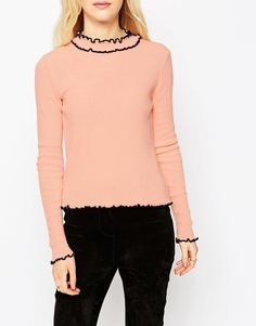 Image 3 ofASOS Jumper in Rib with Ruffle Neck with Tipping
