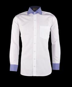 White Poplin with Dark Blue Contrast Collar