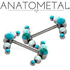 Anatometal Titanium Side-set 5 Gem Cluster Barbell 14 Gauge 14g