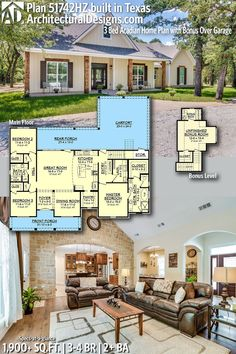 THIS MAY BE MY FAVORITE PLAN....Architectural Designs House Plan 51742HZ, shown client-built in Texas, gives you 3 beds and 1,900 sq. ft. of heated living space PLUS bonus upstairs. Ready when you are. Where do YOU want to build? #51742HZ #adhouseplans #architecturaldesigns #houseplan #architecture #newhome #newconstruction #newhouse #homedesign #dreamhome #dreamhouse #homeplan #architecture #architect #acadianhouse #acadianhome #southernhouse #southernhome #southernliving #southernlife