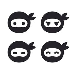 Ninja face icon set vector art illustration