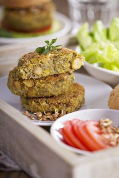A number of nourishing ingredients mingle in this vegan chickpea burger recipe. Vegan Chickpea Burger, Chickpea Recipes, Healthy Eating Recipes, Raw Food Recipes, Vegetarian Recipes, Baked Burgers, Canned Chickpeas, Vegan Foods, Light Recipes