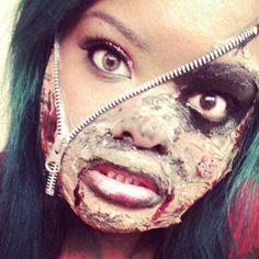 Arie Khounpanya makes zipper face #Halloween #HalloweenMakeup ...
