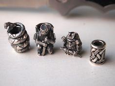 Paracord lanyard beads by Nikolai Kuzmin, silver 925, each 5-7gr - Mamba, Templier, Samurai, Celtic
