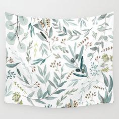 Eucalyptus pattern Wall Tapestry by aniiiz Decor, Vivid Colors, Wall Hanging, Wall Tapestry, Tapestry, Decor Styles, Wall Patterns, Dorm Room Decor, Inexpensive Art